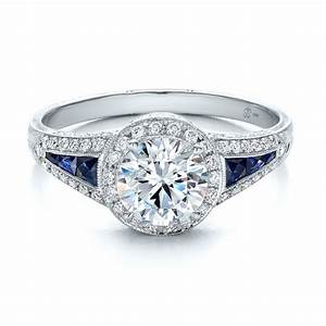 diamond halo and blue sapphire engagement ring 100391 With diamond and sapphire wedding rings