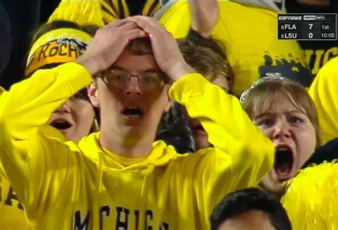 Michigan Fan Meme - ohio state fan carved pumpkin to look like shocked michigan fan the big lead