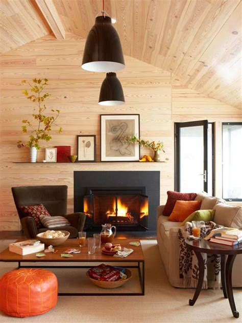 fall living room cozy decor inviting colored bright sofa orange arrangements ottoman pillows leaf touch space leather curtains inspired digsdigs