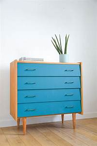 Meuble Bleu Canard : commode vintage bleu canard ann es 50 60 d co 50 pinterest ~ Teatrodelosmanantiales.com Idées de Décoration