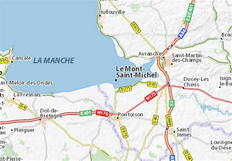 map of le mont michel michelin le mont michel map viamichelin