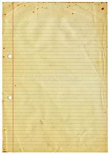 Blank Lined Vintage A4 Paper Isolated On White. Stock ...