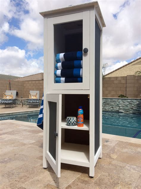 ana white poolside towel cabinet  benchmark cabinet