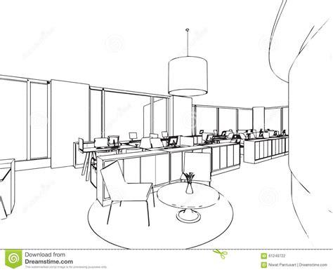 dessin de bureau croquis intérieur de dessin d 39 ensemble de bureau