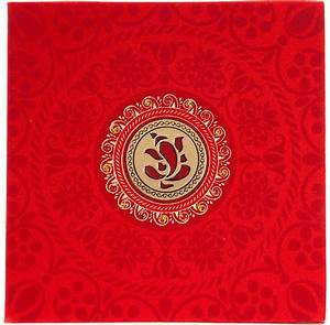 wedding invitation in red satin with laser cut ganesha With wedding cards pictures ganesha