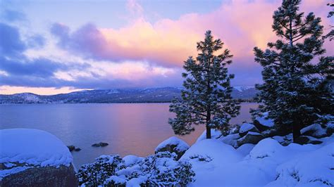 Wallpaper Lake At Dusk In Winter 1920x1200 Hd Picture, Image