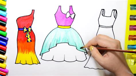 draw color paint pretty dresses coloring page an