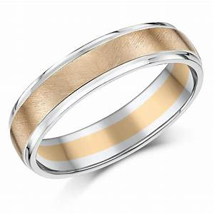 5mm 9ct two colour rose white gold wedding ring band With wedding rings uk
