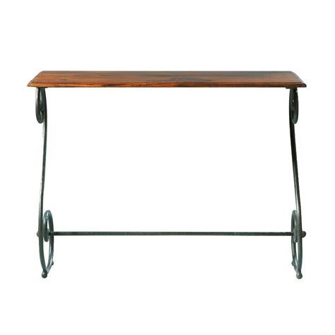 table console en fer forg 233 et bois de sheesham massif l 100 cm luberon maisons du monde