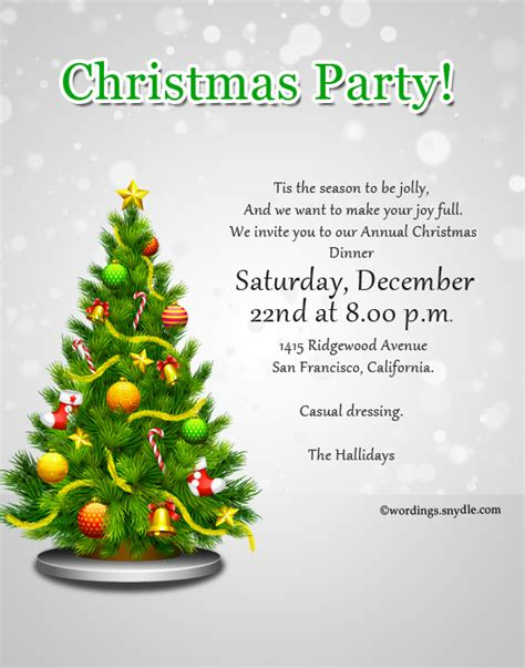 christmas party invitation wordings wordings and messages