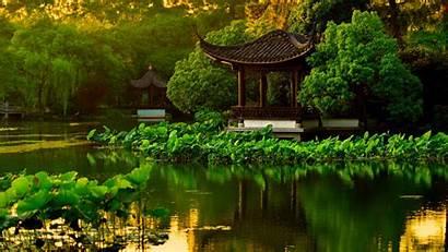 Japanese Garden Landscape Lake Desktop Backgrounds Wallpapers