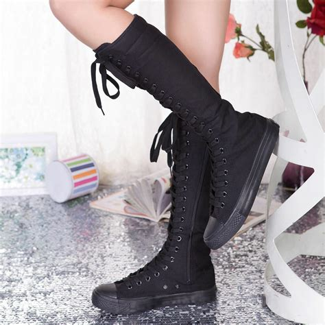 wholesale punk emo girls shoes canvas boots zip lace