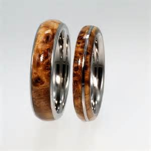 wooden wedding bands wooden wedding band set titanium rings with black ash burl jewelrybyjohan on artfire