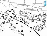 Graveyard Coloring Scary Drawings Designlooter sketch template