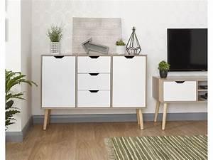 White, Oak, 3, Drawers, Stockholm, Living, Room, Sideboard, Storage, Unit