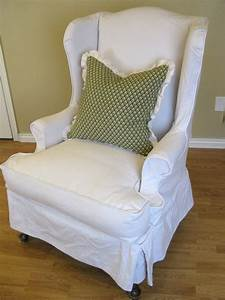 White linen wingback slipcover with green pattern cushions for Furniture slipcovers for wingback chairs