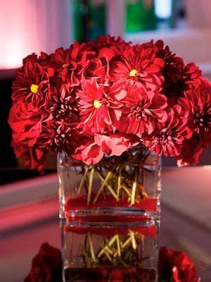 traditional engagement party ideas red centerpieces