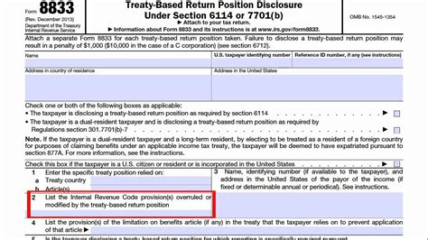 form  treaty based return position disclosure