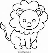 Lion Coloring Clip Sweetclipart Sweet sketch template