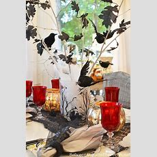Halloween Table Setting Tablescape With Raven Crow Centerpiece