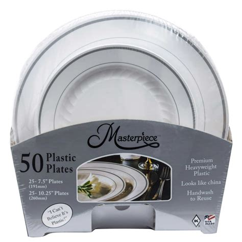 plates costco plastic masterpiece silver disposable plate dinner dinnerware count christmas rim variety combo microwave safe food foods storage popsugar
