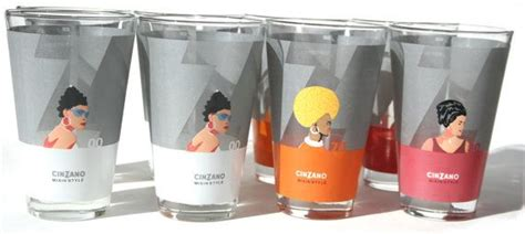 Vintage Cinzano Barware High Ball Glasses Set Mixing By