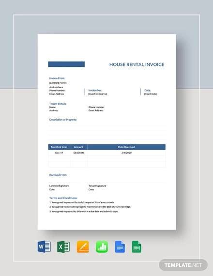 sample rent invoice template    documents