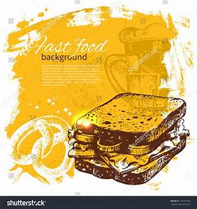 Vintage Fast Food Background Hand Drawn Stock Vector ...