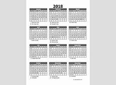 Editable 2018 Yearly Spreadsheet Calendar Free Printable