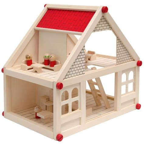 maison de poupee en bois maison de poup 233 es en bois koala avec 4 figures et meubles achat vente maison poup 233 e cdiscount