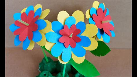 easy paper craft    paper flowers youtube