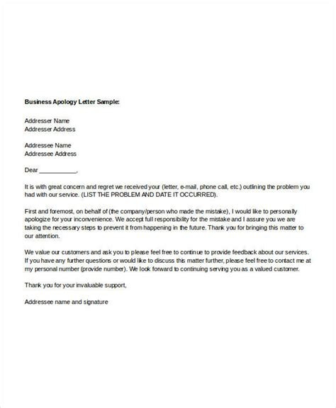 sample apology letter template   word