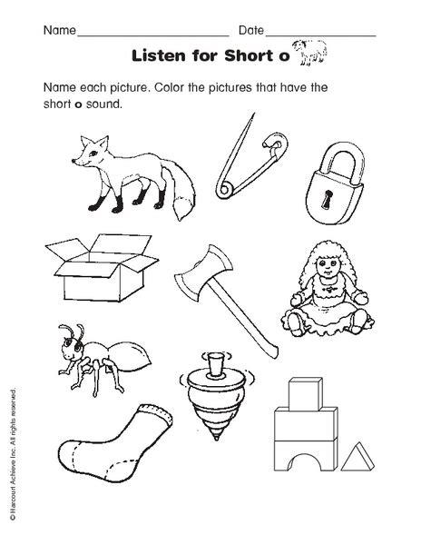 listen for short o worksheet for kindergarten 1st grade