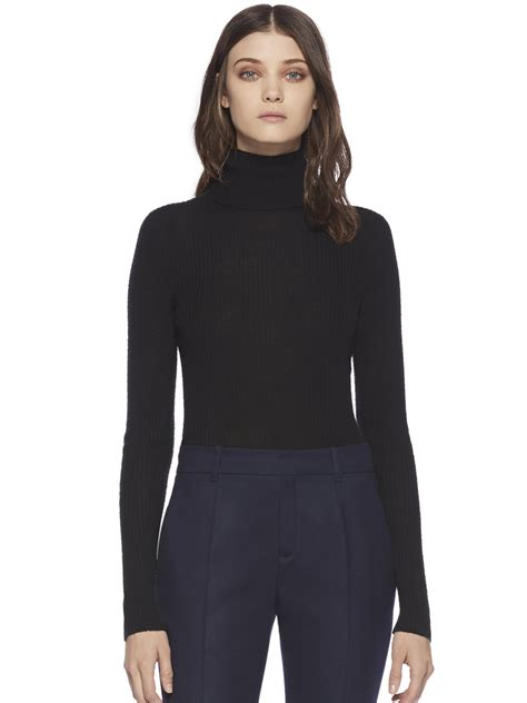 womens black sweater lyst gucci ribbed turtleneck sweater in black