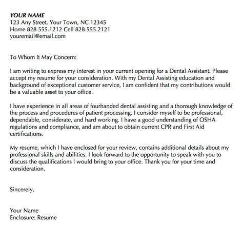 Cover Letter For Dental Assistant No Experience by Registered Dental Assistant Cover Letter Resume Writing