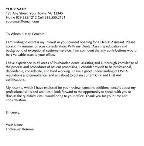 registered dental assistant cover letter resume writing