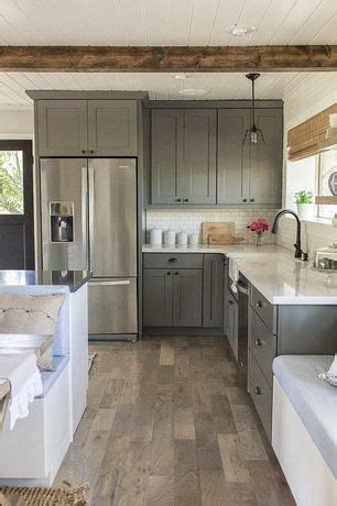 floor and decor woodland country kitchen with exposed beam subway tile flush light armstrong flooring woodland