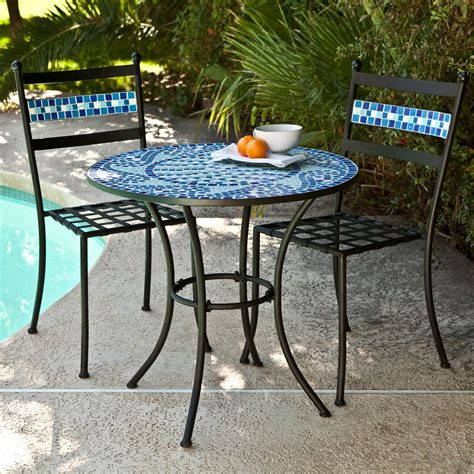 Bistro Patio Furniture by Outdoor 3 Aqua Blue Mosaic Tiles Patio Furniture