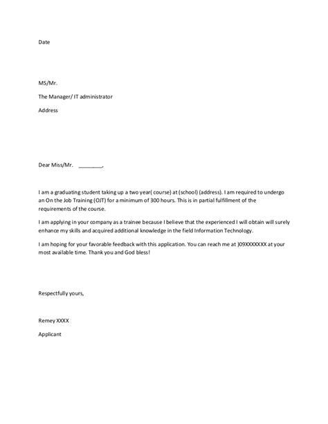 aplication leter form for ojt ojt application sle