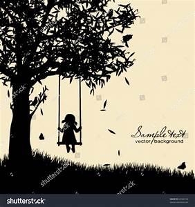Vector Silhouette Girl On Swing Stock Vector 62586142 ...