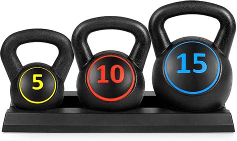 weight kettlebell fitness rack hdpe exercise choice piece weights 10lb 15lb 5lb base lifting