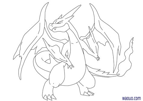 coloriage mega dracaufeu  pokemon  imprimer
