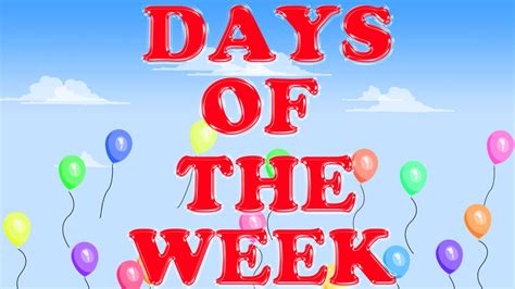 Days Of The Week Song I Week Days Song I Monday To Sunday