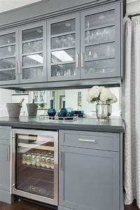 gray living room bar cabinets with mirrored backsplash With best brand of paint for kitchen cabinets with cocktail glass wall art