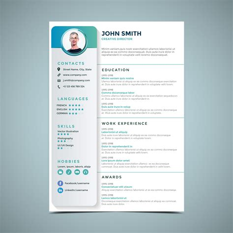 Resume Design by Simple Resume Design Template Free Vector
