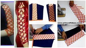 How to Sew a Designer strip Sleeves - Art & Craft Ideas