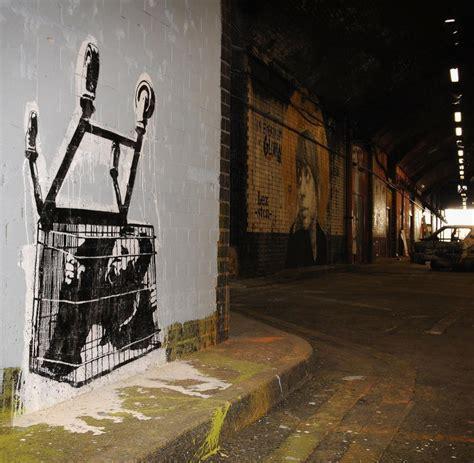 banksy streetart der mann ohne gesicht und sein