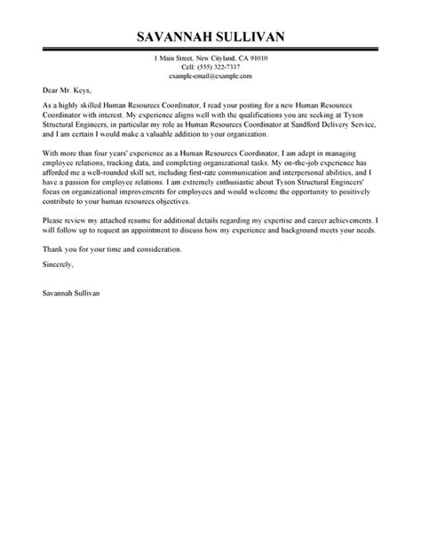 hr coordinator cover letter examples livecareer