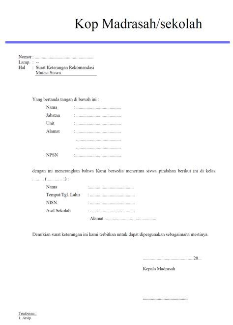 Surat Mutasi by Mts Amin Darussalam Contoh Surat Surat Untuk Keperluan