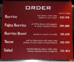 chipotle menu offering vegan burritos  dc